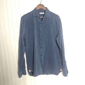 Loro Pianna silk button down long sleeve top blue